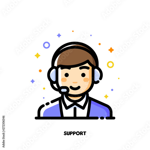 Fényképezés Icon of cute boy with headset which symbolizes customer service or call center for help and support concept