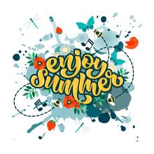 Hand Drawn Enjoy Summer Text O...