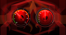 Colorful Red Speedometer Auto Not Tech Background