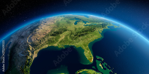 Canvas-taulu Detailed Earth. Gulf of Mexico and Florida