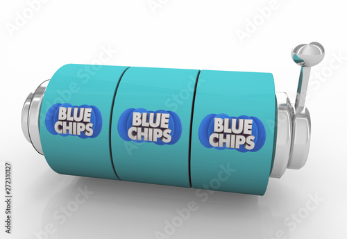 Blue Chips Top Goals Priorities Slot Machine Spin Wheels Gamble Bet 3d Illustration