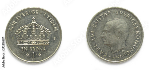 Fotografia  Swedish 1 Crowns (Krona, kronor) 2002 year coin