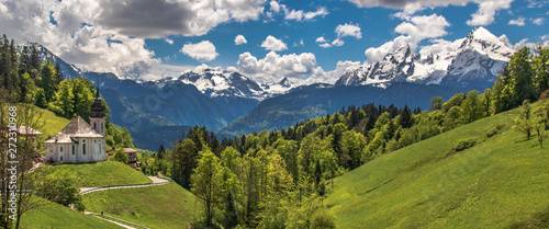 Aluminium Prints Alps Beautiful alpine mountain view with the famous church and Watzmann summit at Maria Gern Berchtesgaden - Bavaria - Germany