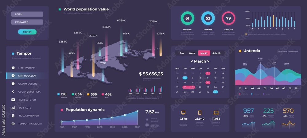 Fototapety, obrazy: Infographic dashboard template. White modern web app UI with graphs round bars and charts. Vector admin creative workflow panel design