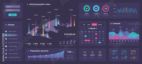 Fototapeta Infographic dashboard template. White modern web app UI with graphs round bars and charts. Vector admin creative workflow panel design obraz