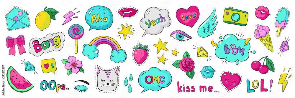 Fototapeta Doodle 90s stickers. Pop art fashion comic badges, trendy cartoon 80s kawaii icons. Vector lol rainbow cherry heart modern girl patches illustration set
