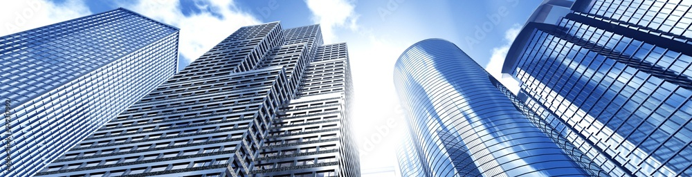 Fototapety, obrazy: Beautiful skyscrapers against the sky, panorama of modern high-rise buildings, 3d rendering
