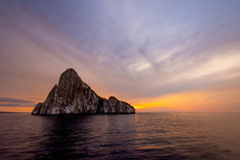 Galapagos Island  Sunset Behind Kicker Rock.