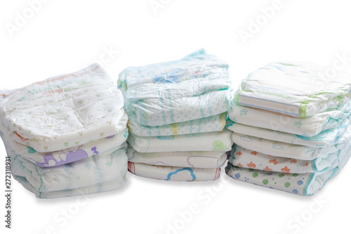 Stack of different disposable diapers Fototapet