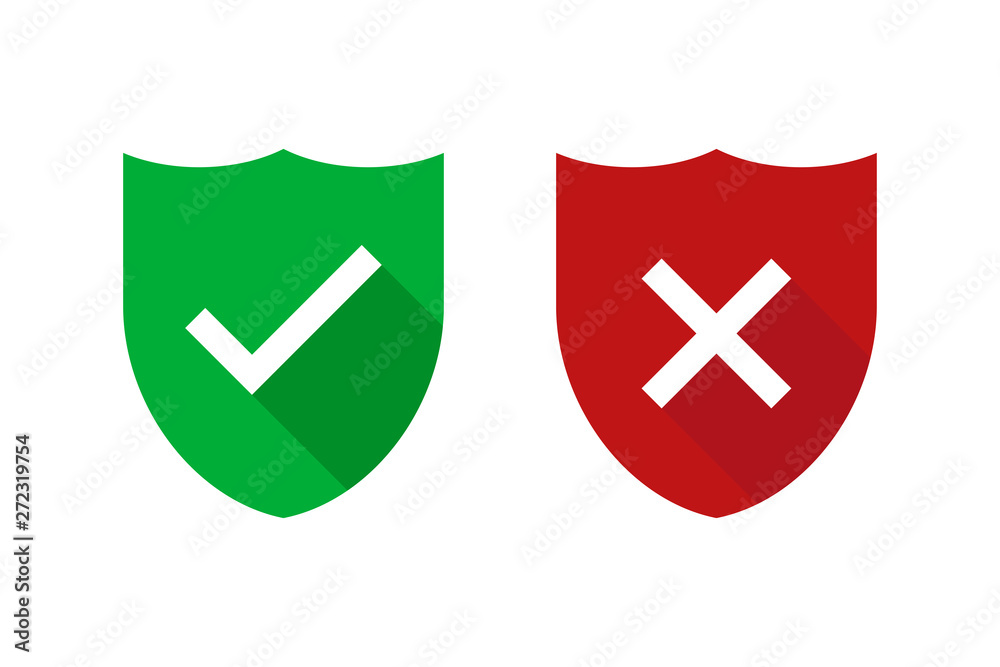 Fototapeta Two green and red shields with checkmark and cross isolated. Security or safe sign. Internet defence symbol. Web technology secure icon.