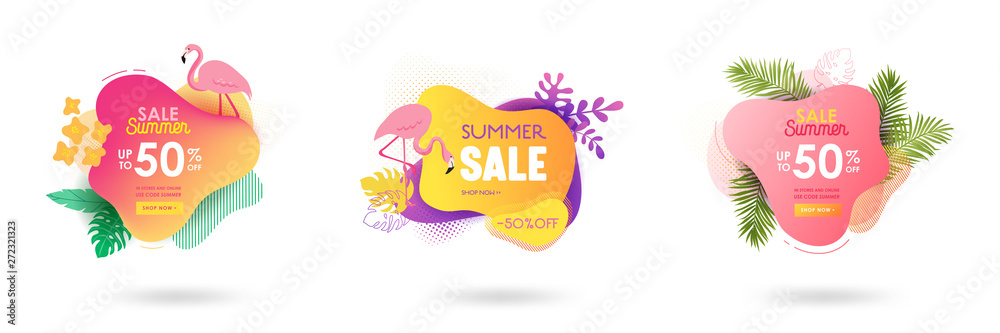 Fototapeta Set of Summer sale banner template. Liquid abstract geometric bubble with tropic flowers, flamingo. Tropical background and backdrop, Promo badge for seasonal offer, promotion, advertising. Vector