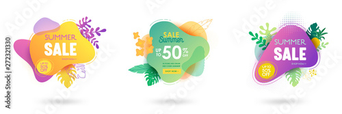 Set of Summer sale banner template. Liquid abstract geometric bubble with tropic flowers, Tropical background and backdrop, Promo badge for seasonal offer, promotion, advertising. Vector illustration