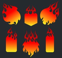 Red Fire, Old School Flame Tags Set, Gradient Stickers Backgrounds, Isolated Vector Illustrations