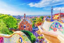 Barcelona, Spain, Famous Landmark Park Guell. Colorful Summer Scene Of Eye-popping Architecture. Popular Travel Destination In Spain, Europe. UNESCO World Heritage List Spot.