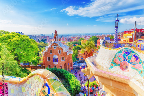 Tuinposter Barcelona Barcelona, Spain, famous landmark Park Guell. Colorful summer scene of eye-popping architecture. Popular travel destination in Spain, Europe. UNESCO world heritage list spot.