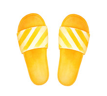 Bright Yellow Joyful Flip-flops, Casual Summer Wear. Symbol Of Recreation, Seaside, Summertime, Sandy Beaches. Handdrawn Watercolour Graphic Drawing, Cutout Clip Art Element For Design Decoration.