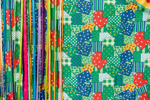Background of Festa Junina, Sao Joao, with Party small colorful Flags and decorative colored ribbons Canvas-taulu