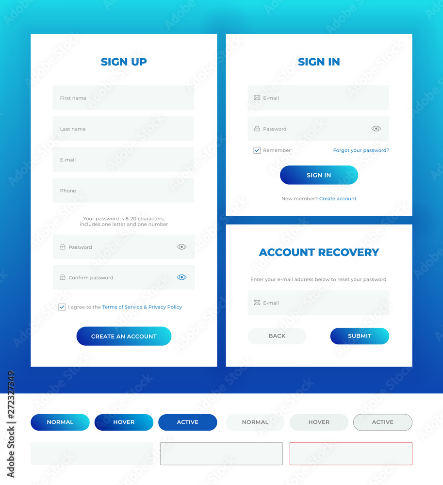 Fototapeta Sign in, sign up, account recovery. Login forms with web elements in different style.