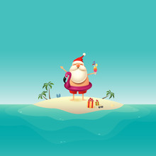 Santa Claus On Sandy Island At...