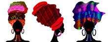 Set African Scarf, Portrait Afro Women In A Striped Turban. Tribal Wrap Fashion, Ankara, Kente, Kitenge, African Woman Dresses. Nigerian Style, Ghanaian Headwrap. Vector For Print, Poster, T-shirt