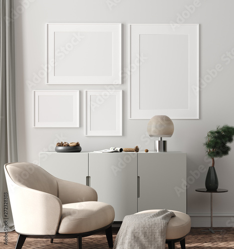 Modern interior, natural pastel colors room background with poster mock up, 3d render - 272328303