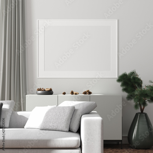 Modern interior, natural pastel colors room background with poster mock up, 3d render - 272328306