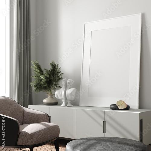 fototapeta na szkło Modern interior, natural pastel colors room background with poster mock up, 3d render