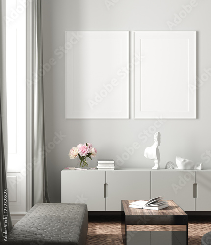 Modern interior, natural pastel colors room background with poster mock up, 3d render - 272328323