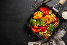 Healthy Tasty Vegetables Grilled On Pan