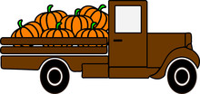 Brown Pumpkin Truck Decoration For T-shirt