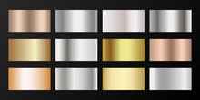 Silver, Platinum, Bronze, Pink Gold Vector Metallic Gradients.