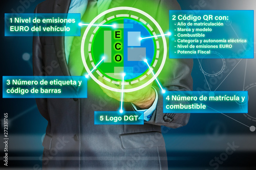 Photo Businessman with EURO ECO tag for the car with infographics of the label