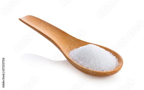 Fotografie, Obraz  sugar in wooden spoon on white background