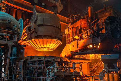 work process in metallurgical engineering at manufactory of steel plant Canvas Print