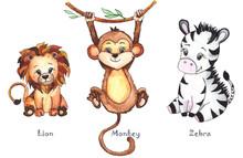 Hand-drawn Watercolor Children's Animals With Cute Lion, Giraffe, Elephant, Rhino, Monkey, Zebra, Crocodile, Iguana, Wombat, Panda, Koala