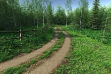 Old Dirt Road Path In The Country, 3d Render.