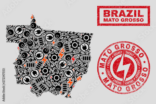 Fotografija  Composition of mosaic power supply Mato Grosso State map and grunge seals