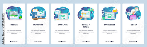 Mobile app onboarding screens. Image resize, www domain internet, template, database. Menu vector banner template for website and mobile development. Web site design flat illustration - 272349542
