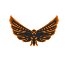 Talisman Flying Eagle Logo Bird Of Prey With Widely Spread Wings And Aggressive Gaze, Black And Orange Emblem Print Of A Hawk