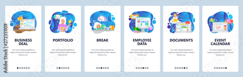 Mobile app onboarding screens. Business deal, lunch break, HR profile, event calendar. Menu vector banner template for website and mobile development. Web site design flat illustration - 272351109