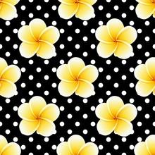 Plumeria Seamless Pattern On A Polka-dot Background. Universal Vintage Print