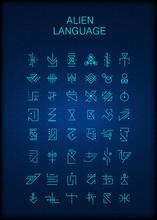 Alien Hieroglyphs Symbols, Unknown Alphabit. Futuristic Hieroglyphs. Digital Alien Matrix Technology Programming Language Alphabet. Cyberspace. Quantum Computers. Hacker Concept.  Vector