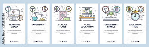 Mobile app onboarding screens. School education, online tutorial video, home education, lab experiment. Menu vector banner template for website and mobile development. Web site design illustration - 272355334
