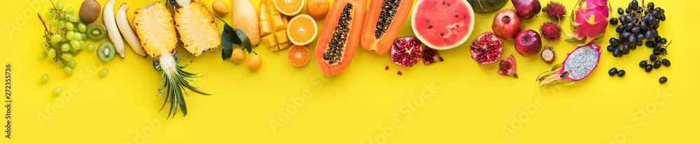 Fototapety, obrazy: Rainbow of different exotic tropical fruits line yellow