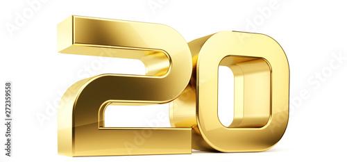 Photo  20 golden bold letters symbol 3D-Illustration