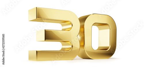 Tela  30 golden bold letters symbol 3D-Illustration
