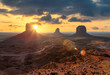 Leinwanddruck Bild - Spectacular sunrise at Monument Valley, Arizona - Utah, USA.