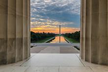 Washington Monument At Sunrise In National Mall, Lincoln Memorial In Washington DC, USA