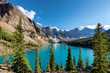 canvas print picture - Beautiful sunset in Banff National Park, Moraine lake, Canada.