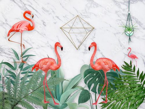 Naklejki Flamingi  3d-illustration-gray-marble-background-green-fern-flowerpots-four-pink-framingos